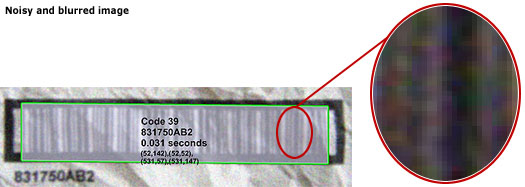 Decodes noisy and blurred barcodes